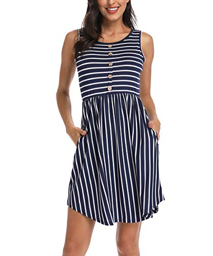 (INWECH Women's Casual Sleeveless Front Button T-Shirt Dress Mini Round Neck Striped Summer Tank Dress with Pockets (Navy Blue, Small))