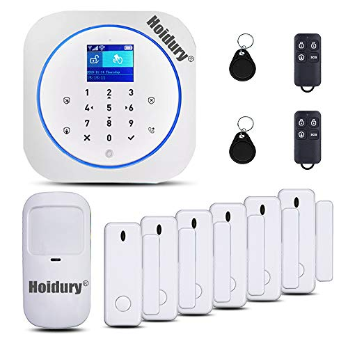 App Controlled Smart Home Security System 2.4G WiFi GSM Burglar Alarm System DIY Wireless Kit No Month Fee for House Office Apartment Business with Door Window Sensor Motion Detector- Alexa Compatible