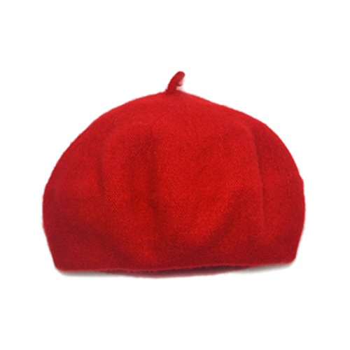 (Adela Boutique Unisex Babies Woolen Berets Solid Classic Kids Beanie Cap Winter Warm Hat (Red))