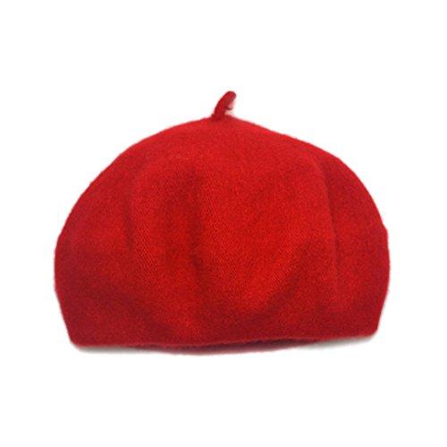 Baby Beret - Adela Boutique Unisex Babies Woolen Berets Solid Classic Kids Beanie Cap Winter Warm Hat (Red)