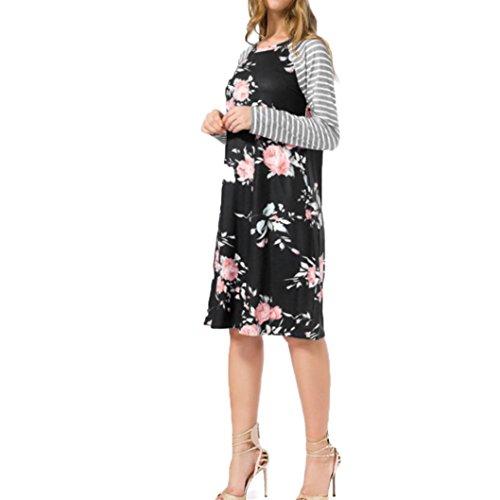 OverDose mujer vestido fiesta de manga larga de impresión floral vestidos Negro