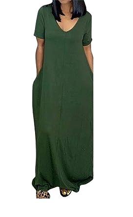 7ce4e52ff9b LROSEY Women's Summer Off Shoulder Short Sleeve Loose Plain V Neck Casual  Long Maxi Dresses with