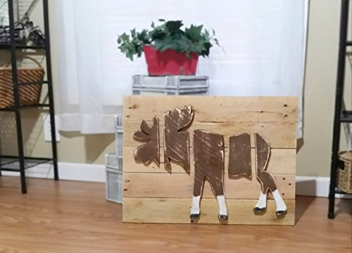 Rustic Layered Wood Moose Wall Art, Wildlife Decor, Moose Picture Cabin Art, Reclaimed Wood, Distressed Art by Loveofbeach (Image #1)