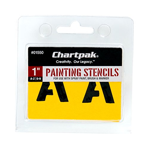 (Chartpak Letter and Number Painting Stencils, A-Z and 0-9, 1 Inch H, 35 per Pack (01550))