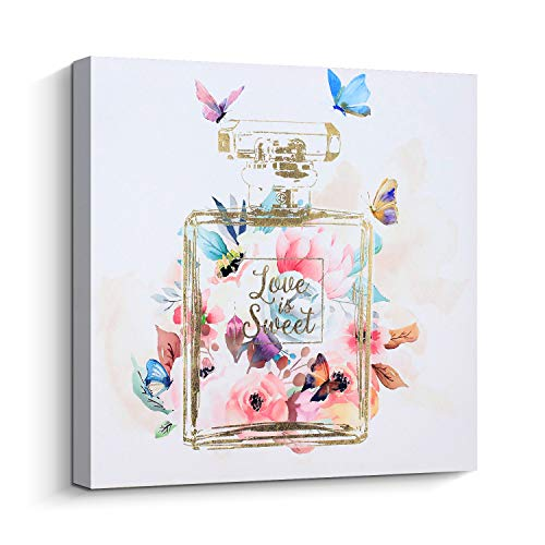 Pi Art Pigort Trendy Wall Art Gold Perfume Bottle with Blooming Flower and Butterflies Canvas Print Picture Wall Painting for Home Accent Wall Decor (24''x24'', Stretched on ()