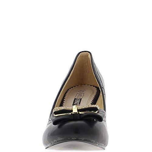 Compensare il tacco di camoscio nero aspetto 8cm con nodo Straße