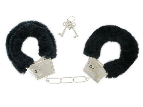 Plüsch-Handschellen Schwarz-Fur Love Cuffs