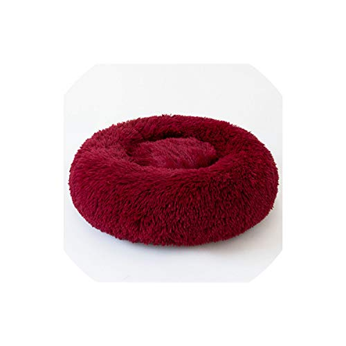 LinJiaJia_shop Donut Cat Bed, Faux Fur Dog Beds for Medium Small Dogs Self Warming Indoor Round Pillow Cuddler,Red,OD 50 - Zurich Pillow Bed