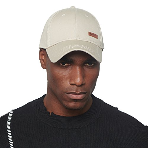 (CACUSS Men's Cotton Dad Hat Classic Baseball Cap with Adjustable Buckle Closure,Golf Cap(Beige) )