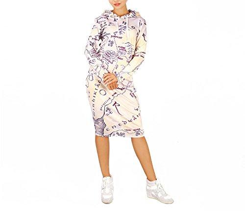 SAFJK 3D Middle Earth Map Print Hoodie Dress Women Pullover Pocket  Sweatshirt Dresses as Shown XL