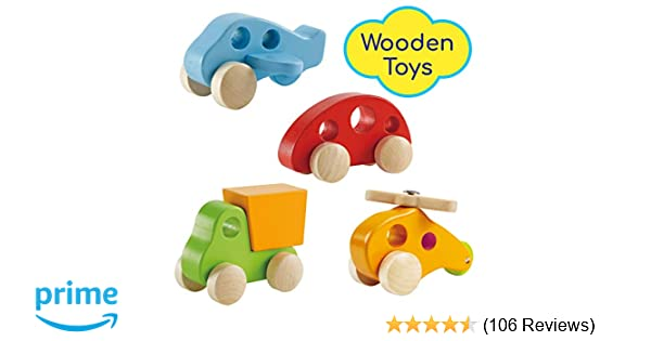 d753214d7 Amazon.com  Wooden Cars Infant Toys – Hape Wooden Toy Cars Airplane ...