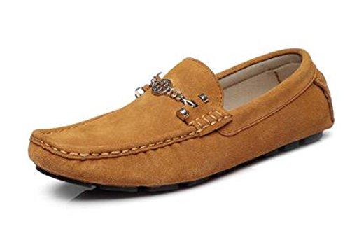 Happyshop (tm) Zapatos De Hombre De Gamuza De Ante De Cuero Comodidad Informal Slip-on Driving Zapatos Mocasines Zapatillas Tierra Amarillo