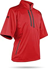 Sun Mountain Men's Rainflex Short Sleeve Pullover Fully seam-sealed and waterproof, RainFlex rain wear is made with a 4-way stretch fabric with a DWR finish. Distinguished by its breathability and quietness and overall comfort when playing, R...