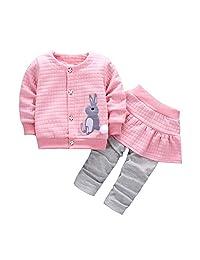 Evelin LEE Baby Girls 2pcs Fall Clothes Sets Rabbit Tops Jacket Coat&Skirt Pants