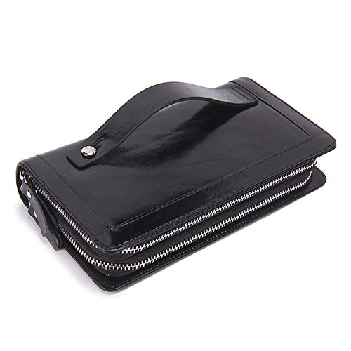 Clutch Handbag Double Zipper Leather Men Bag Black - 7