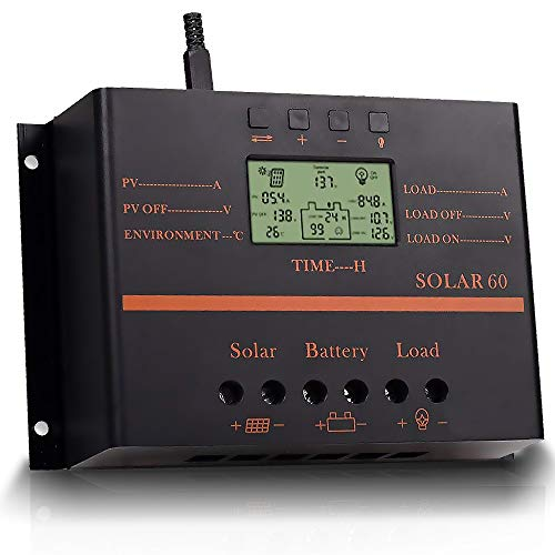 Solar Charge Controller 60A, Solar Panel Regulator 12V 24V Auto with Load Timer, 12V/720W, 24V/1440W with LCD Display USB 5V, Used for Lead-Acid Batteries