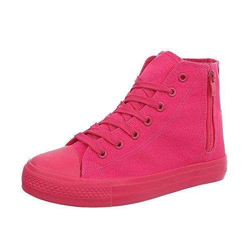 Piatto Sneakers Rosa Ital Donna High Rl da Design 672 Sneaker Scarpe XqwYT