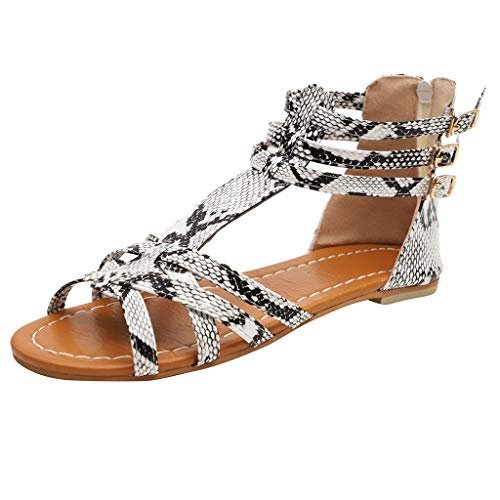 Beaded Leopard Shade - Fashion Sandals for Women - ✔ Hypothesis_X ☎ Bohemian Sandals Buckle Ankle Strap Sandals Leopard Retro Peep Toe Sandals Gray