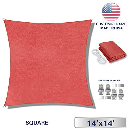 Windscreen4less Sun Shade Sail Rust Red 14 x 14 Square Patio Permeable Fabric UV Block Perfect for Outdoor Patio Backyard – Customize 4 Pad Eyes Included
