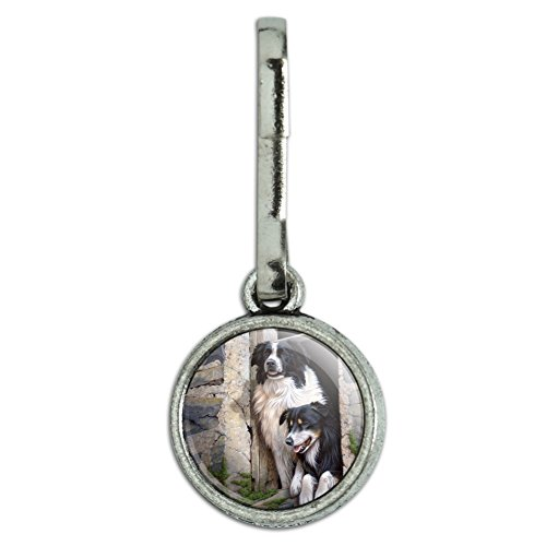 Graphics and More Border Collies Window Dogs Antiqued Charm Clothes Purse Suitcase Backpack Zipper Pull Aid
