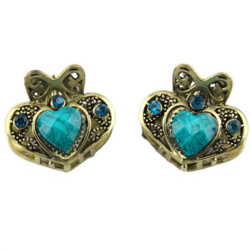 Heart Tiara - Rhinestone Inlay - Two Piece Set - Hair Claw - Turquoise Blue