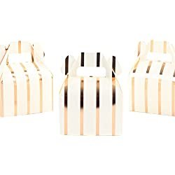 Andaz Press Rose Gold Copper Foil Gable Boxes, Striped, 4-inch, 36-Pack, Modern Elegant Party Favor Box Containers for Candy, Mini Cookies, Dessert Bar, Birthday, Baby Shower, Wedding Favors