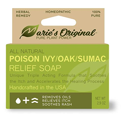 Marie's Original Poison Ivy Soap Bar | All Natural Poison Ivy Treatment | Anti-Itch Skin Cleanser Bar for Poison Ivy, Poison Oak & Sumac | Removes Oils, Soothes & Relieves Rashes | 2.9 Ounces