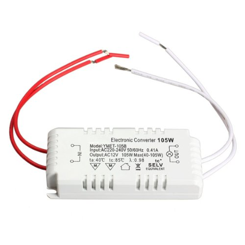 Alloet New 105W 12V Halogen Light LED Electronic Transformer Power Supply Driver