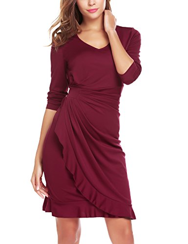 ANGVNS Women's 3/4 Sleeve Ruffle Surplice Neckline Semi Formal Midi Wrap Dress Wine Red M (Surplice Wrap Dress)