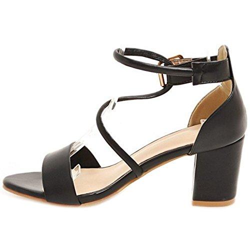 Croisées Sandales Grandes Et Talon Taille Et Noir Mode Sjjh Gros La Boucles Sandales Cheville Femmes Avec Sangles rfxOIf8qg