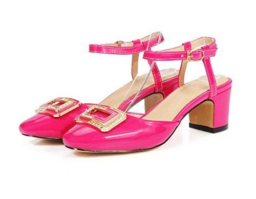 con Rhinestone los XIE Cuadrado bajo Zapatos Corte 38 Ayudar Tacón ROSERED Grueso Media 37 a para Dedo pie la para del Mujer de Hebilla rwzrYqa