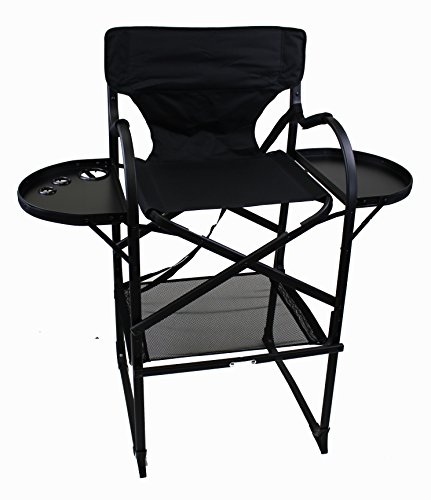 Price comparison product image World Outdoor Products Professional MAKE UP PRO Tall Folding Directors Chair with Two Side Folding Table Trays, Removable Brush Holder, Comfortable Folding Footrest.