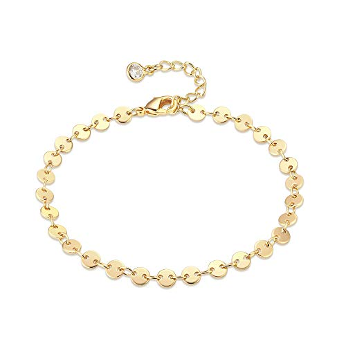 (Dainty Gold Coin Bracelet,14K Gold Plated Disc Chain Bracelet,Link Chain Bracelets for Women)