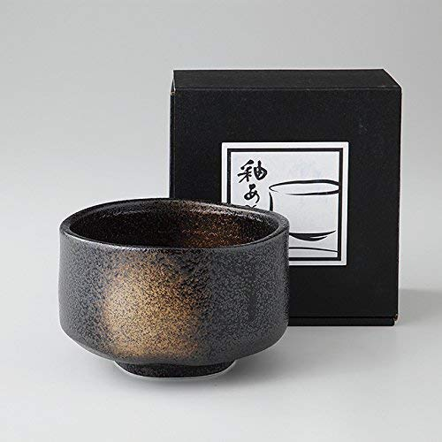 Black Sandblasted Matcha Bowl Ochawan by Alenet Traditional Ceramics Made in Japan