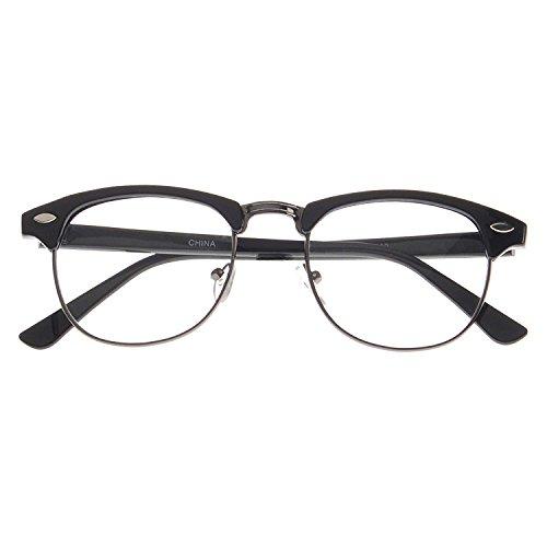 MLC Eyewear Vintage Inspired Classic Half Frame Nerd Horn Rimmed UV400 Clear Lens Glasses