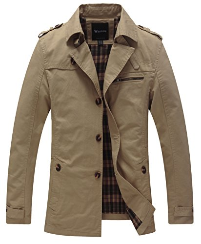Wantdo Men's Cotton Single Breasted Trench Jacket US Small Dark Khaki by Wantdo