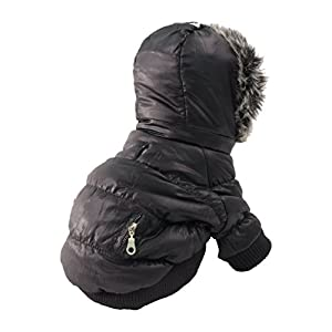 PET LIFE Classic Metallic Fashion Pet Dog Coat Jacket Parka w/ 3M Insulation and Removable Hood, Small, Jet Black