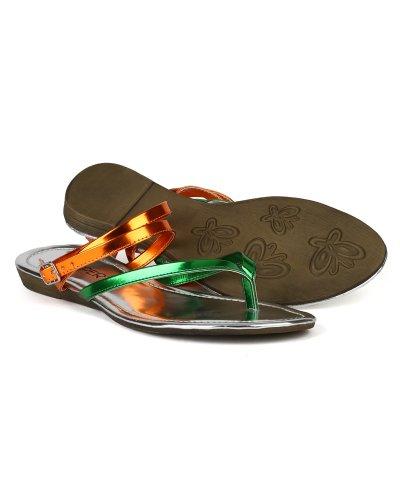 Green Strap Cross Ankle Lory Heel Cris Metallic Leatherette AG23 Sandal Multi Women Colors 68 Bumper FqPT6p
