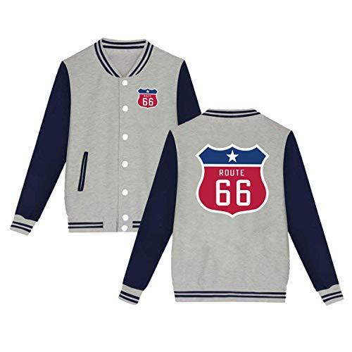 Texas Version of The Route 66 Shield Unisex Baseball Uniform Jacket Sweatshirt Sport Coat Gray (Route Blazer 66)