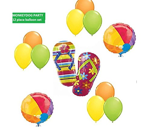 12pc BALLOON set new FLIP FLOPS beach BALL summer fun PARTY birthday LUAU any occasion