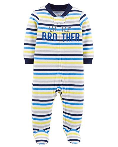 Child of Mine Carters Preemie Baby Boy Pajamas Sleepers Blue White Grey Assorted Colors (Preemie 6 lbs 17 Length, Blue Stripe Little (Boys Blue Sleeper)