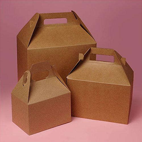 Cardboard Kraft Food Boxes Gable Boxes 9'' X 6'' - Bakery Boxes - 100 each by Paper Mart by Paper Mart