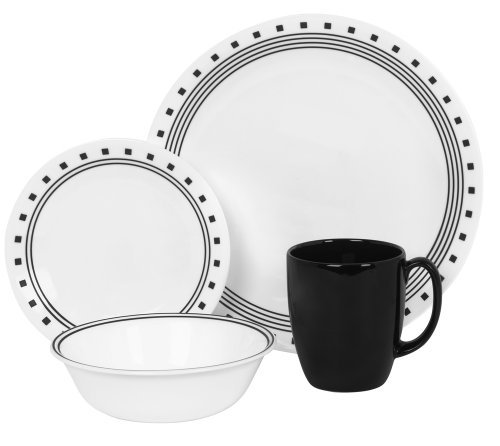 Corelle Livingware 16 piece Dinnerware Set, Service for 4, City Block (Enhancements Dinnerware Set)