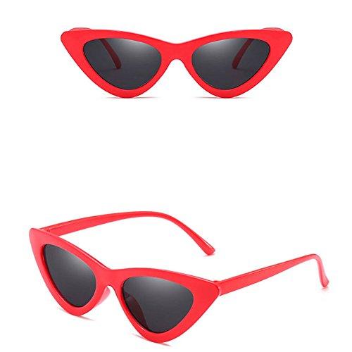 roja de Caja Gato Gafas de Sol Transparente gris Lady todo de Ojo Triángulo de Forma wlgreatsp Marco de Pequeño 4ZpqPPaw