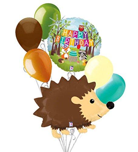 7 pc Woodland Hedgehog Happy Birthday Animals Balloon Bouquet Party Decoration -