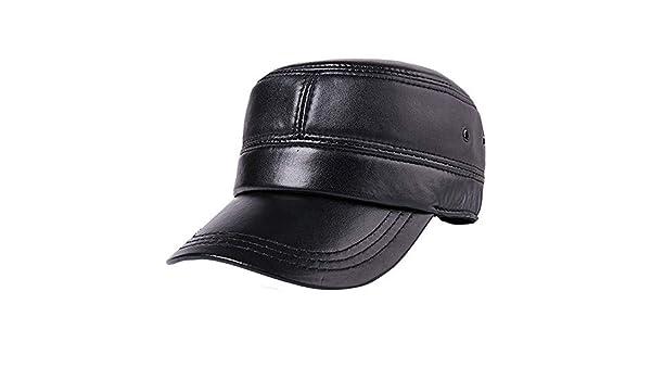 LERDBT Gorras de Plato Hombre Vintage Cuero auténtico Negro Gorras ...