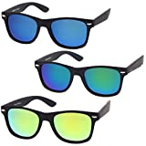 zeroUV - Rubberized Frame Reflective Mirror Polarized Lens Square Horn Rimmed Sunglasses 55mm (3 Pack Polarized | Green)