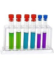 6 stuks reageerbuis,doorzichtig Reageerbuisrek,100 ml capaciteit transparante afdichting snoepopslagcontainer buis met deksels, reageerbuishouder,centrifugebuisjes voor doe-het-zelf,badzoutflesjes