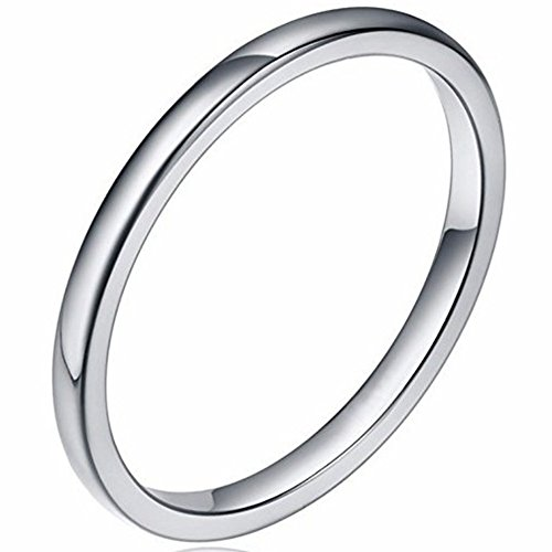 (Jude Jewelers Stainless Steel Stackable Ring Wedding Band (Silver, 7))