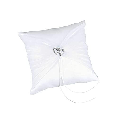 Amazon.com: vidrio Doble Corazón Blanco Satinado Anillo De ...